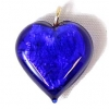 Glass Lamp Pendant Heart 13mm Cobalt Blue/Silver